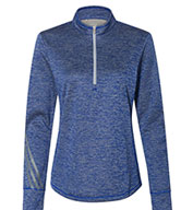 Custom Adidas Womens Brushed Terry Heathered Quarter-Zip Pullover