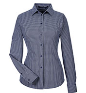 Custom Devon & Jones Ladies CrownLux Performance Tonal Mini Check Shirt