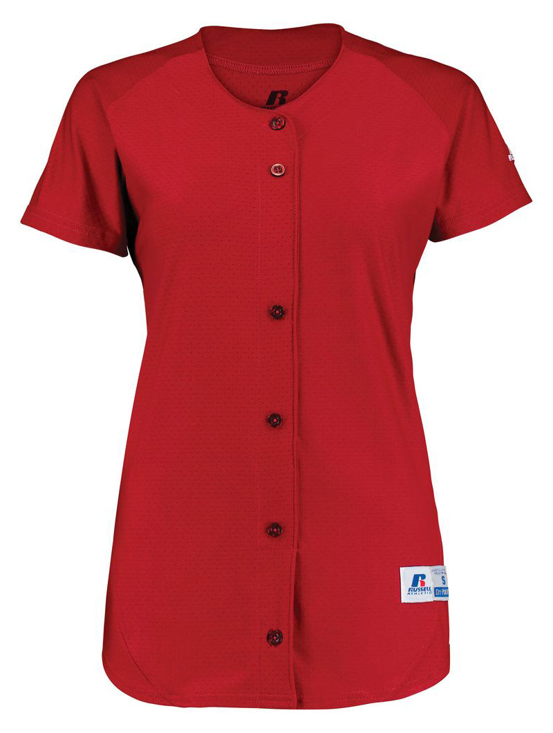 Russell Ladies Stretch Faux Button Jersey