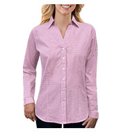 Custom Ladies Long-Sleeve Gingham Check Shirt