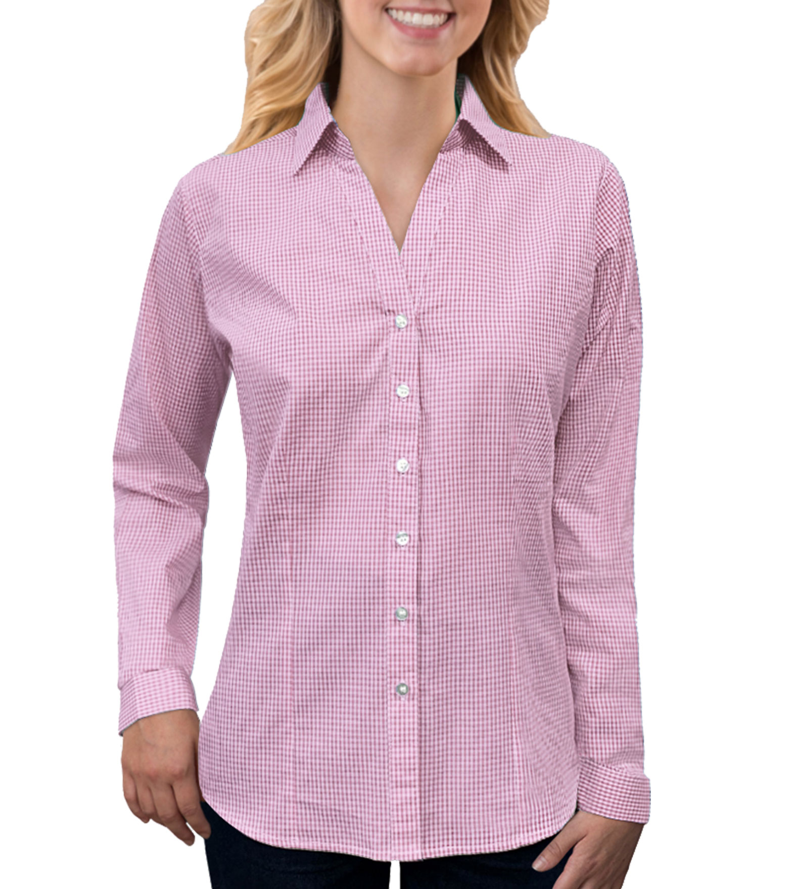 Ladies Long-Sleeve Gingham Check Shirt
