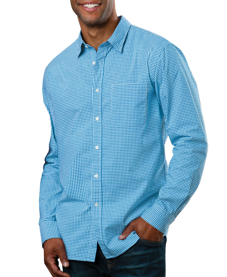 Mens Long-Sleeve Gingham Check Shirt