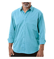 Custom Mens Long-Sleeve Untucked Crossweave Shirt