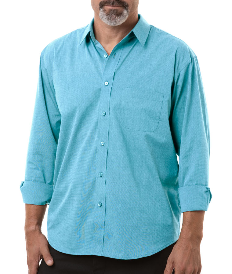 Mens Long-Sleeve Untucked Crossweave Shirt
