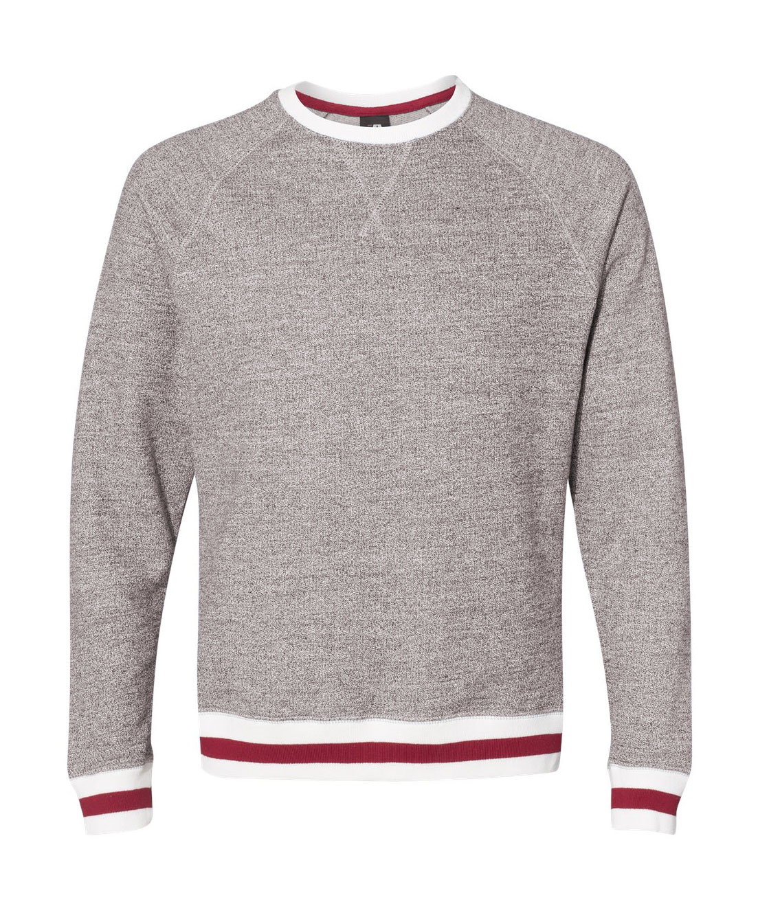 J. America Adult Peppered Fleece Crewneck Sweatshirt