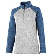 Custom Charles River Womens Quarter Zip Heathered Fleece