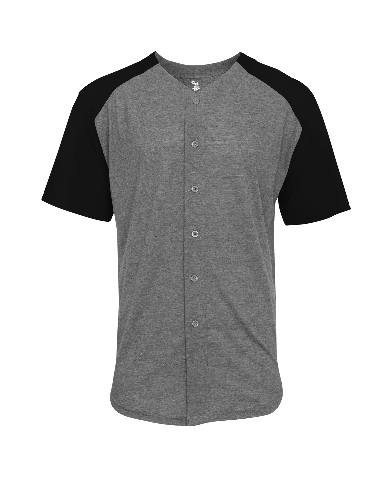 Badger Mens Tri-Blend Full Button Tee