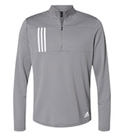 Custom Adidas Mens 3-Stripes Double Knit Quarter-Zip Pullover