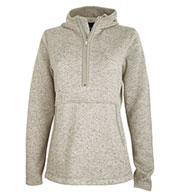 Custom Charles River Womens Heathered Fleece Quarter Zip Hoodie