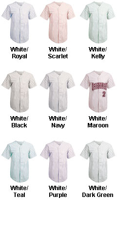 Adult Pro Style Pinstripe 6 Button Front Jersey - All Colors